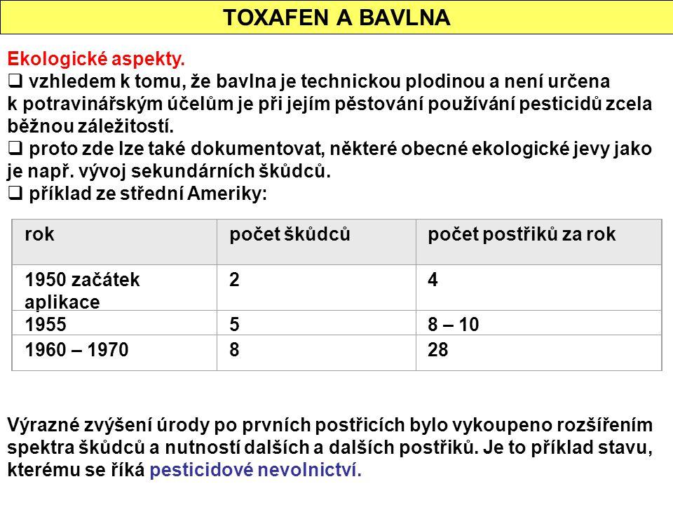 TOXAFEN A BAVLNA Ekologické aspekty.