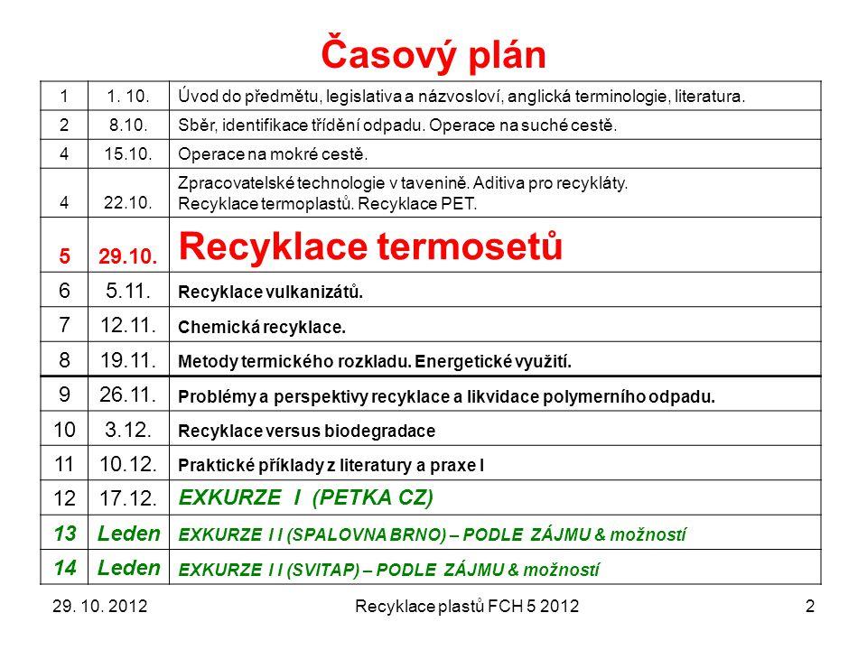 Časový plán Recyklace termosetů 5 29.10. 6 5.11. 7 12.11. 8 19.11. 9