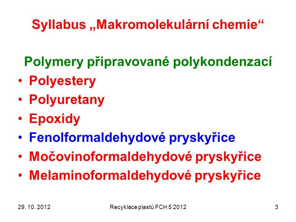 """Syllabus """"Makromolekulární chemie"""