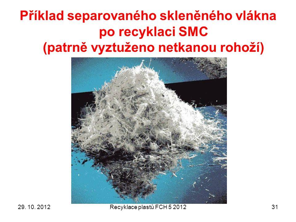 Příklad separovaného skleněného vlákna po recyklaci SMC (patrně vyztuženo netkanou rohoží)