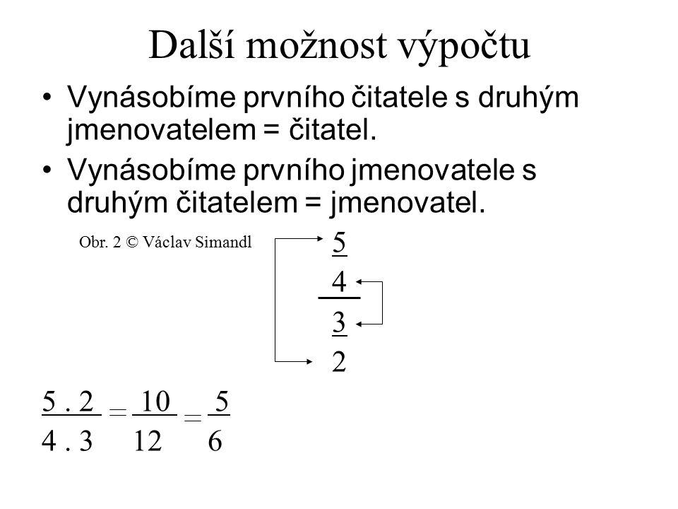 Další možnost výpočtu Vynásobíme prvního čitatele s druhým jmenovatelem = čitatel. Vynásobíme prvního jmenovatele s druhým čitatelem = jmenovatel.