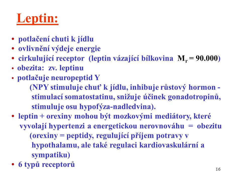 Leptin: • potlačení chuti k jídlu • ovlivnění výdeje energie