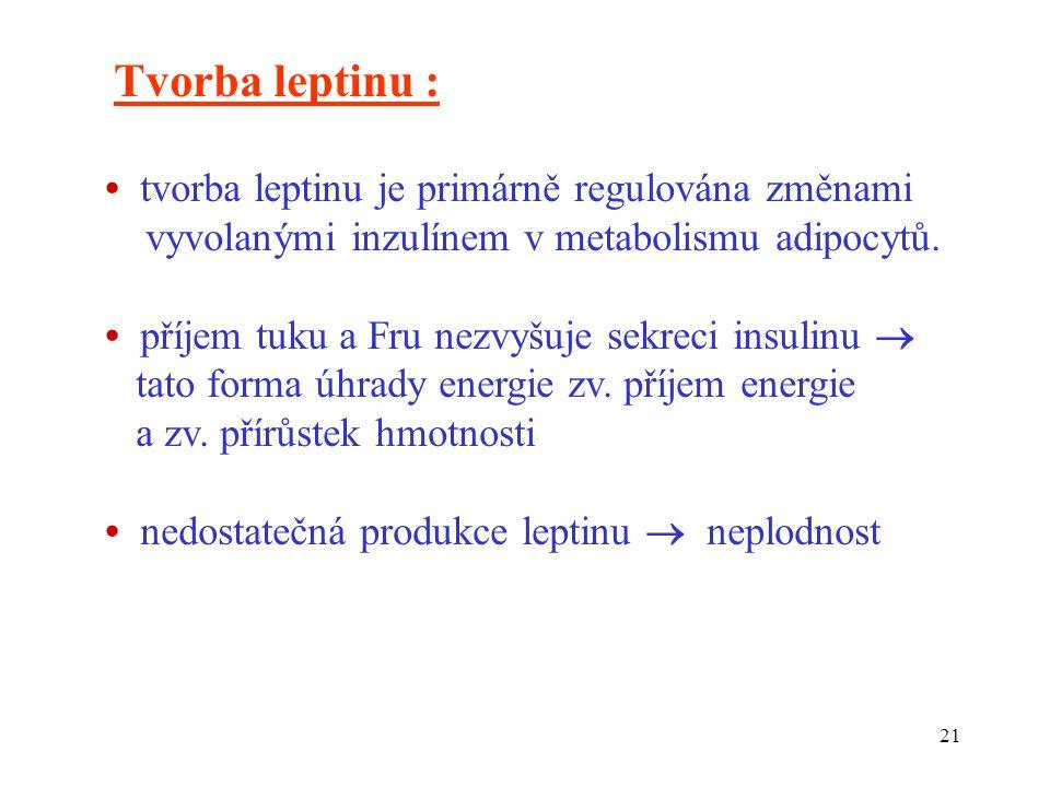 Tvorba leptinu : • tvorba leptinu je primárně regulována změnami