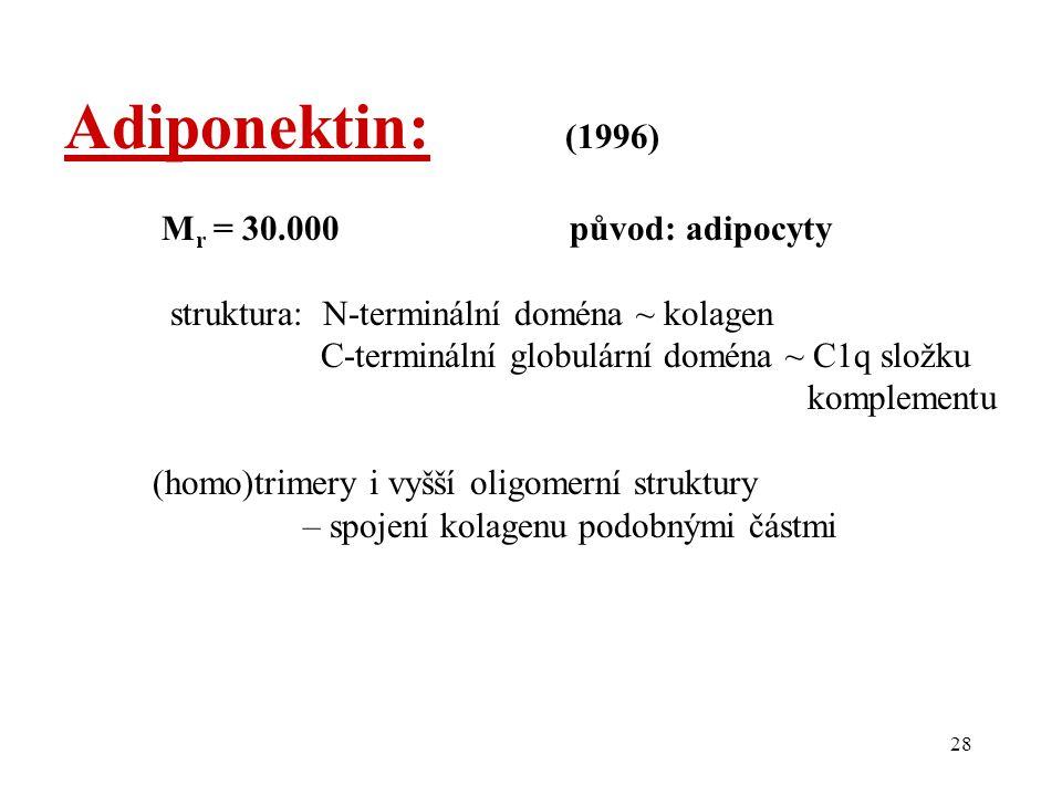 Adiponektin: (1996) Mr = 30.000 původ: adipocyty