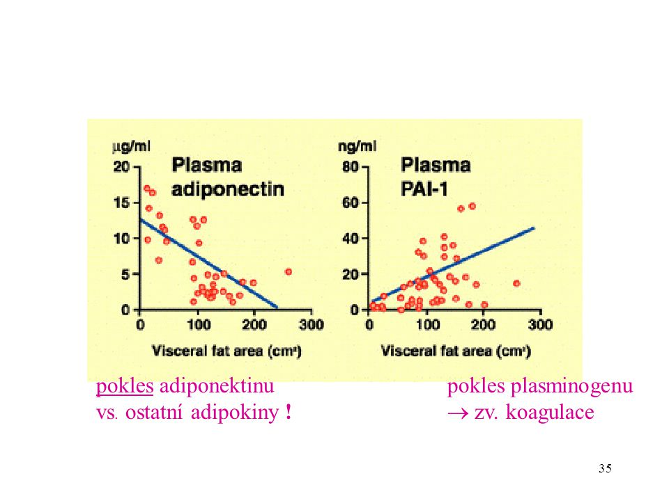 pokles adiponektinu vs. ostatní adipokiny ! pokles plasminogenu  zv. koagulace