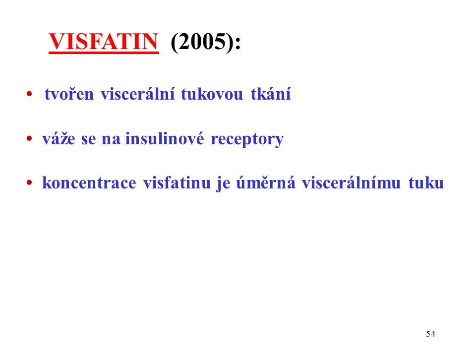 VISFATIN (2005): • tvořen viscerální tukovou tkání