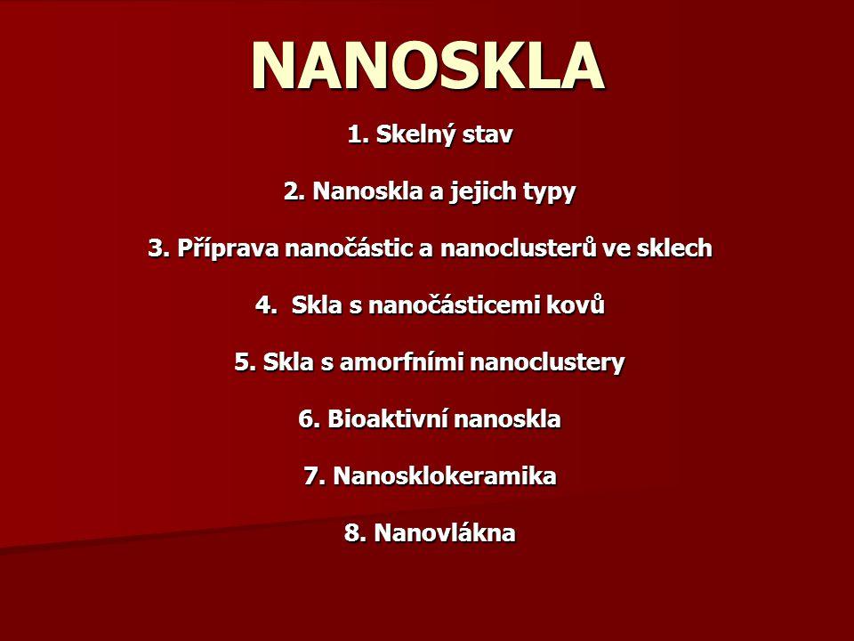 NANOSKLA 1. Skelný stav 2. Nanoskla a jejich typy