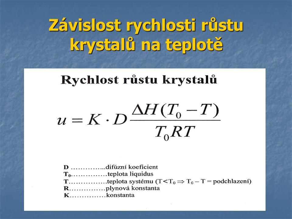 Závislost rychlosti růstu krystalů na teplotě