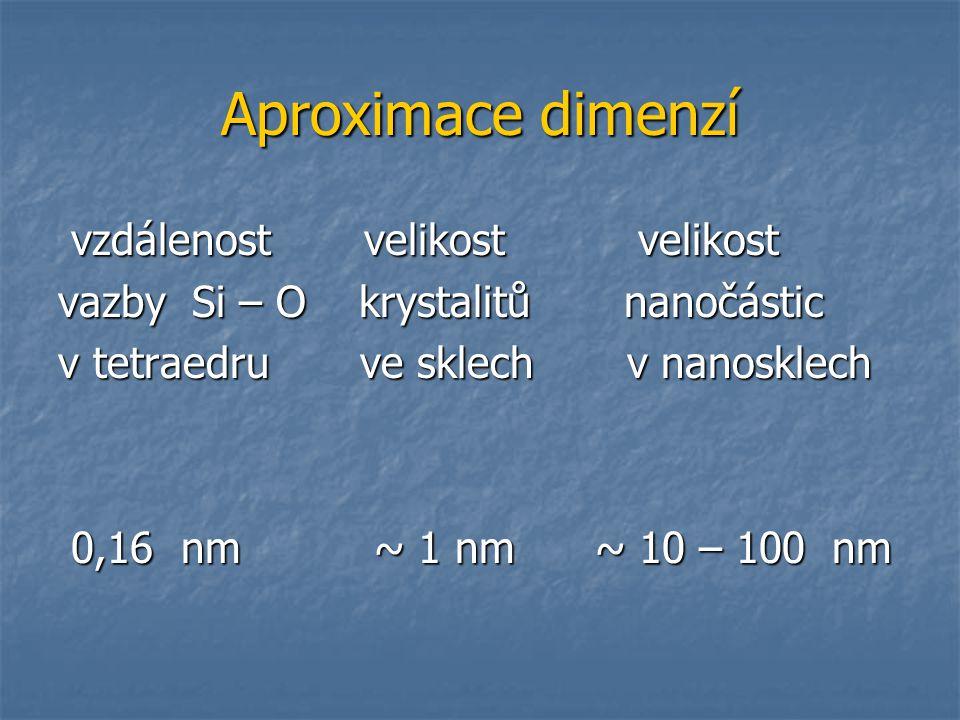 Aproximace dimenzí vzdálenost velikost velikost
