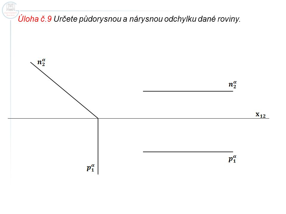 Úloha č.9 Určete půdorysnou a nárysnou odchylku dané roviny.