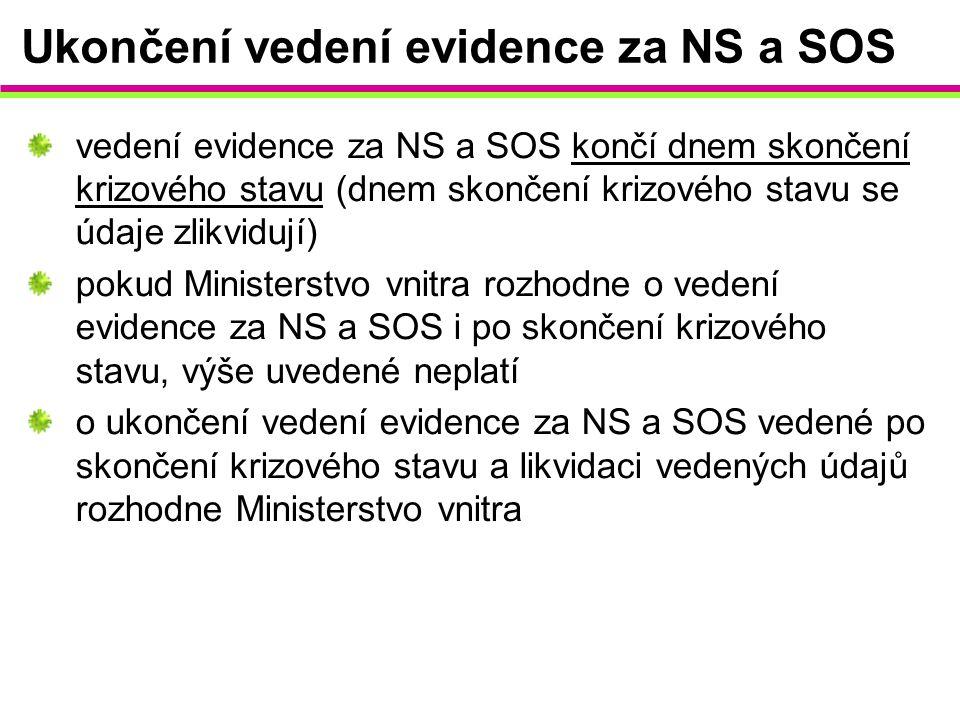 Ukončení vedení evidence za NS a SOS