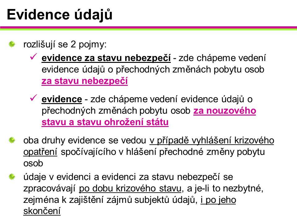 Evidence údajů rozlišují se 2 pojmy: