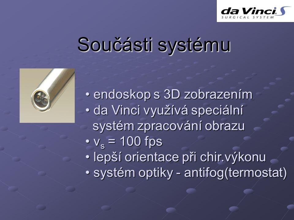 Součásti systému endoskop s 3D zobrazením da Vinci využívá speciální