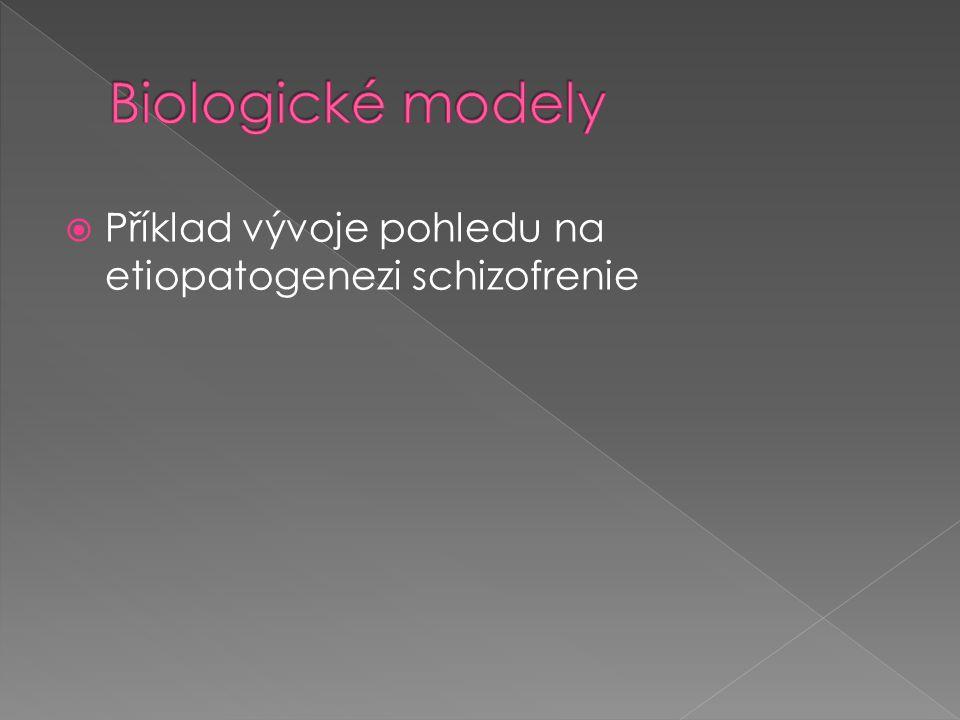 Biologické modely Příklad vývoje pohledu na etiopatogenezi schizofrenie