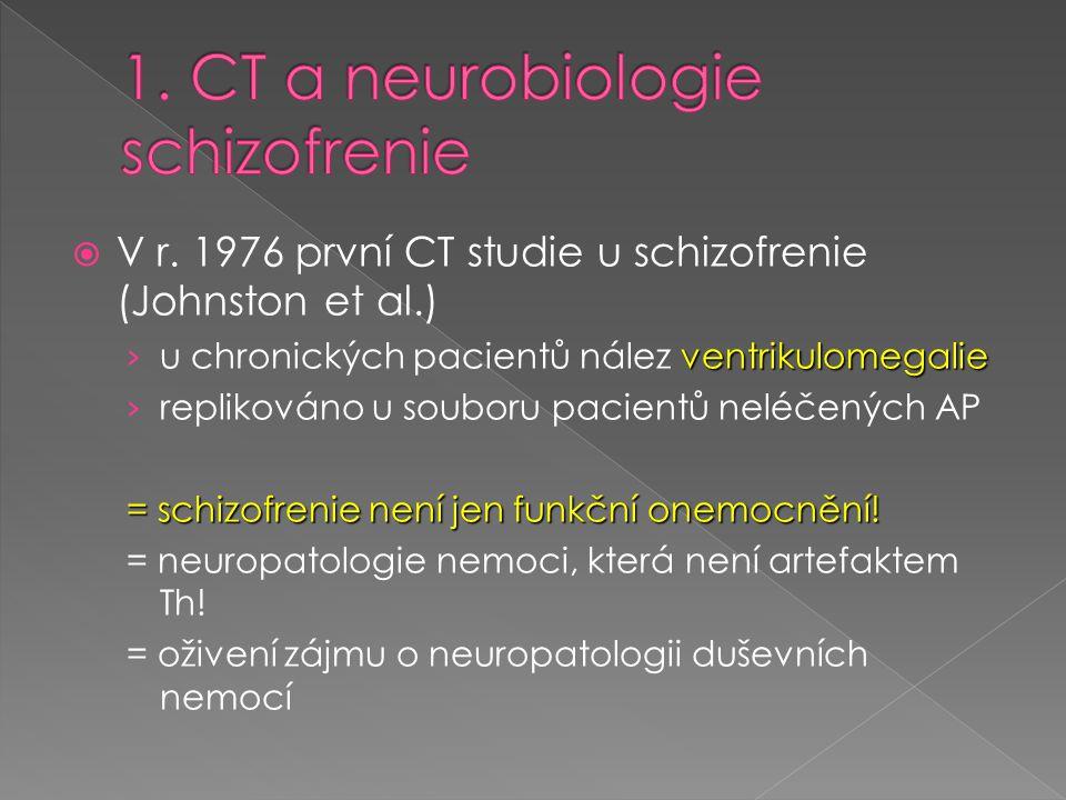 1. CT a neurobiologie schizofrenie