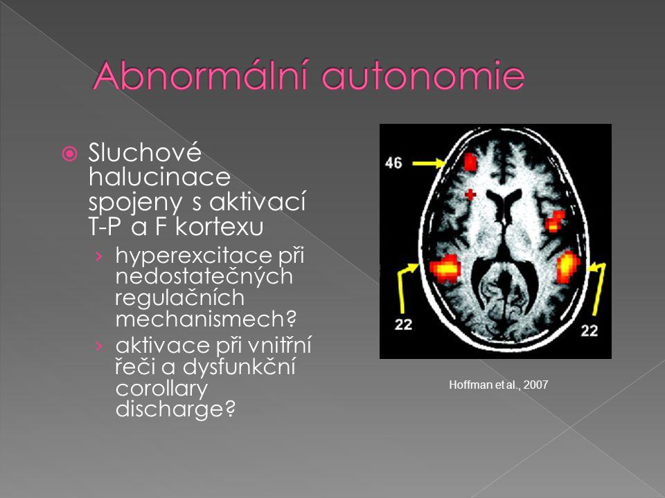 Abnormální autonomie Sluchové halucinace spojeny s aktivací T-P a F kortexu. hyperexcitace při nedostatečných regulačních mechanismech