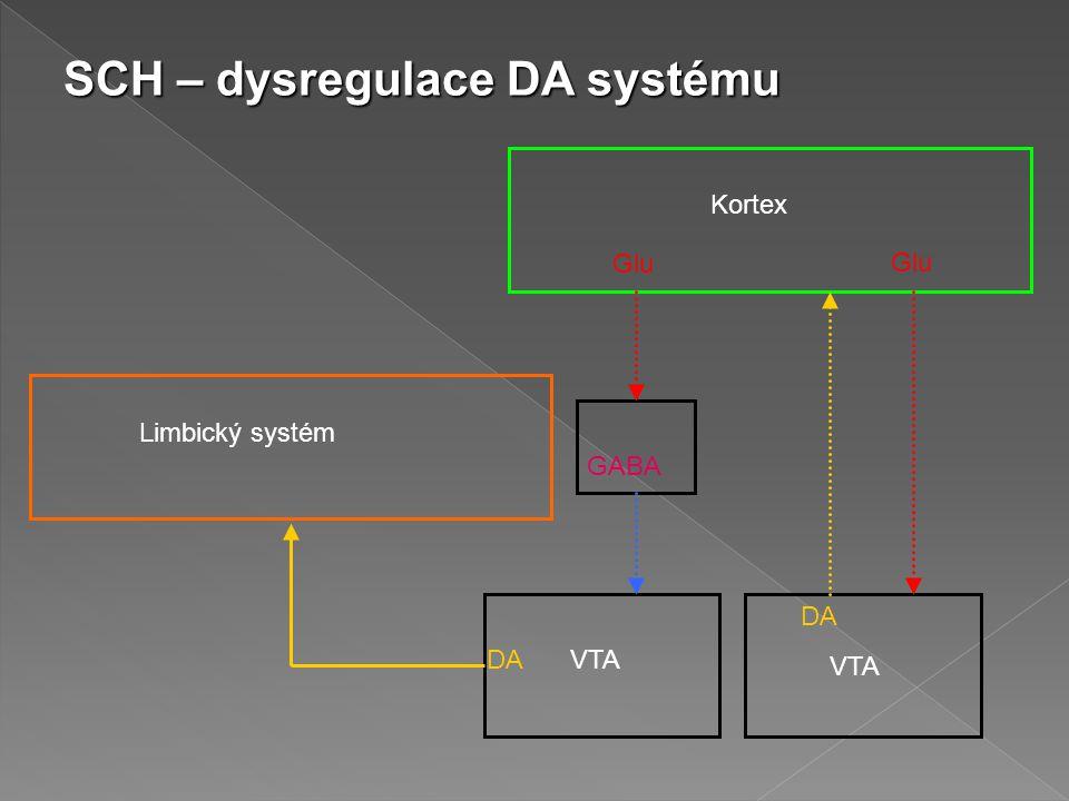 SCH – dysregulace DA systému