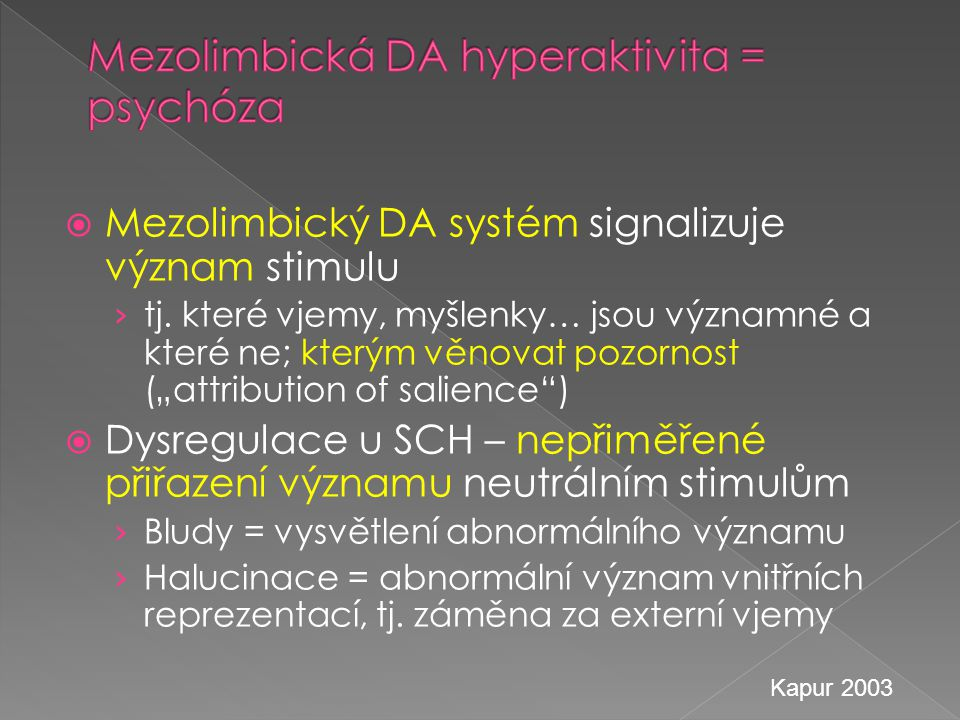 Mezolimbická DA hyperaktivita = psychóza
