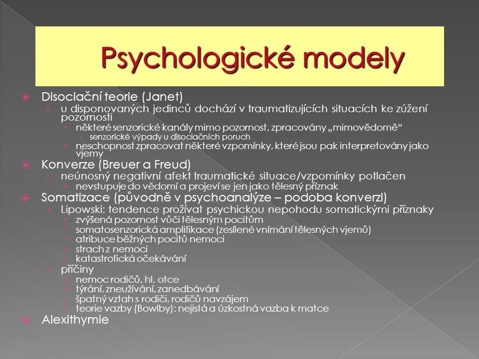 Psychologické modely Disociační teorie (Janet)