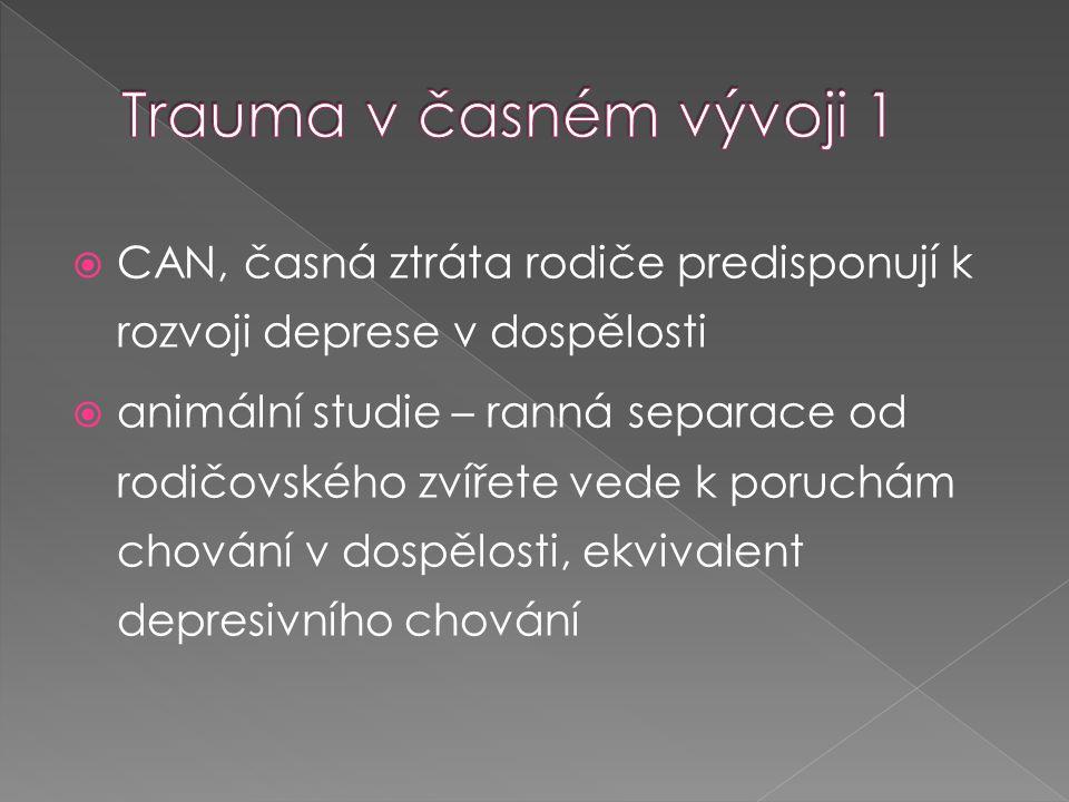 Trauma v časném vývoji 1 CAN, časná ztráta rodiče predisponují k rozvoji deprese v dospělosti.