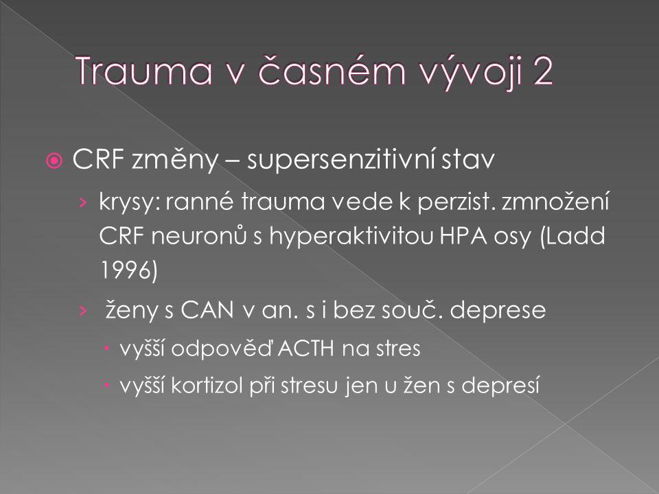 Trauma v časném vývoji 2 CRF změny – supersenzitivní stav
