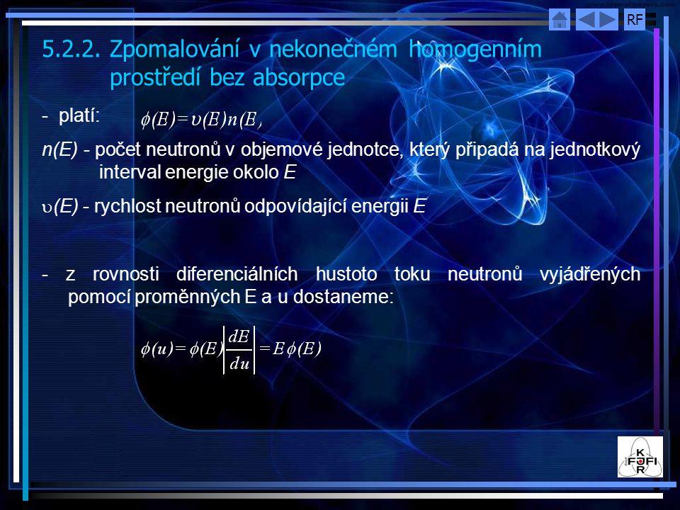 5.2.2. Zpomalování v nekonečném homogenním prostředí bez absorpce