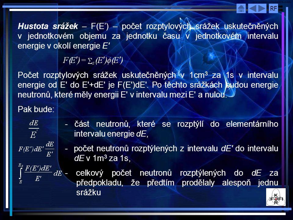 Hustota srážek – F(E') – počet rozptylových srážek uskutečněných v jednotkovém objemu za jednotku času v jednotkovém intervalu energie v okolí energie E