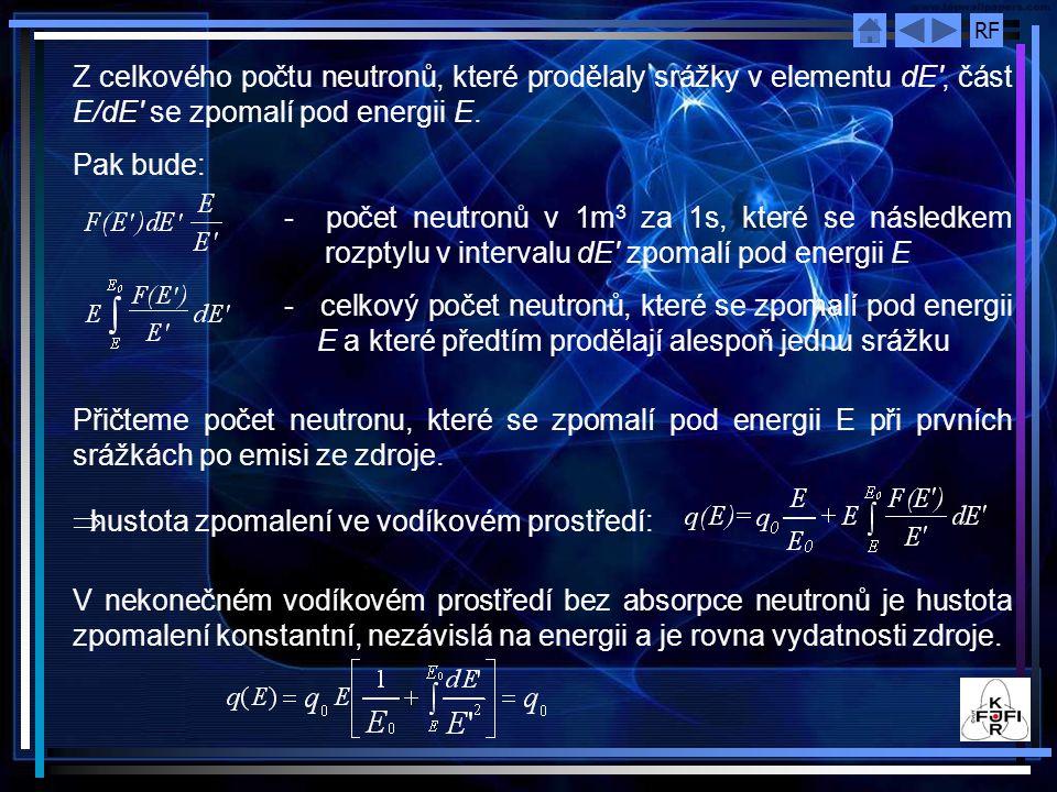 Z celkového počtu neutronů, které prodělaly srážky v elementu dE , část E/dE se zpomalí pod energii E.