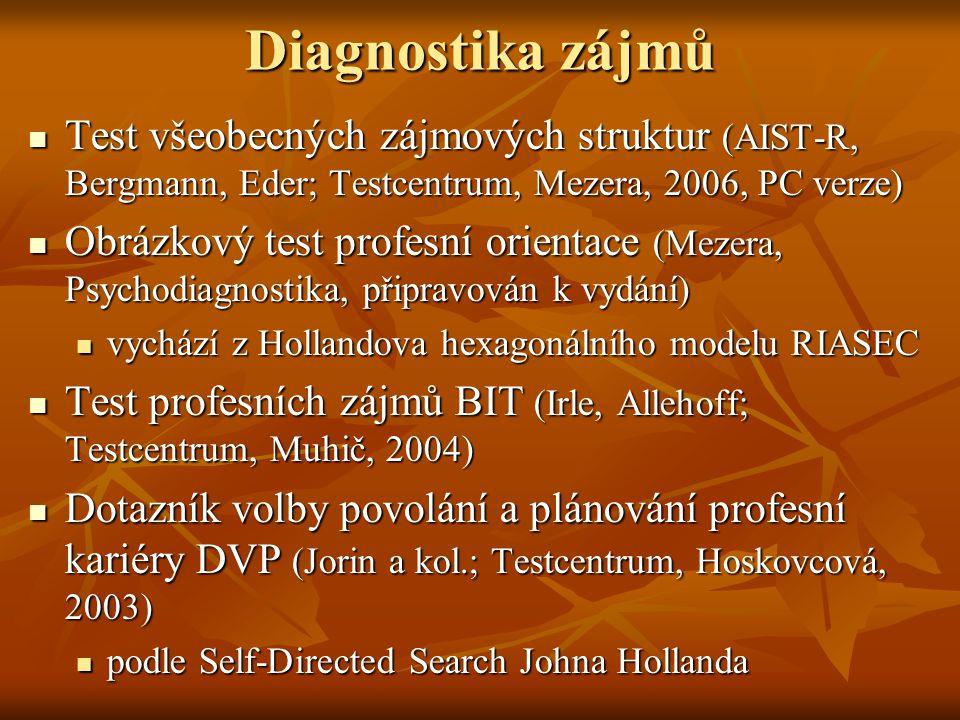 Diagnostika zájmů Test všeobecných zájmových struktur (AIST-R, Bergmann, Eder; Testcentrum, Mezera, 2006, PC verze)