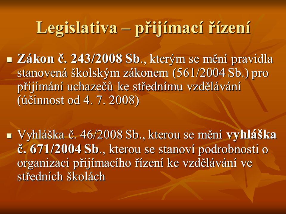 Legislativa – přijímací řízení
