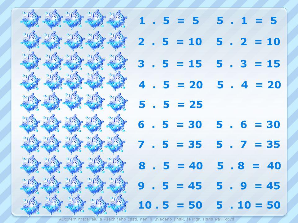 1 . 5 = 5 5 . 1 = 5 2 . 5 = 10 5 . 2 = 10. 3 . 5 = 15 5 . 3 = 15. 4 . 5 = 20 5 . 4 = 20.