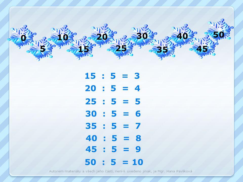 50 10. 20. 30. 40. 5. 15. 25. 35. 45. 15 : 5 = 3. 20 : 5 = 4. 25 : 5 = 5. 30 : 5 = 6.