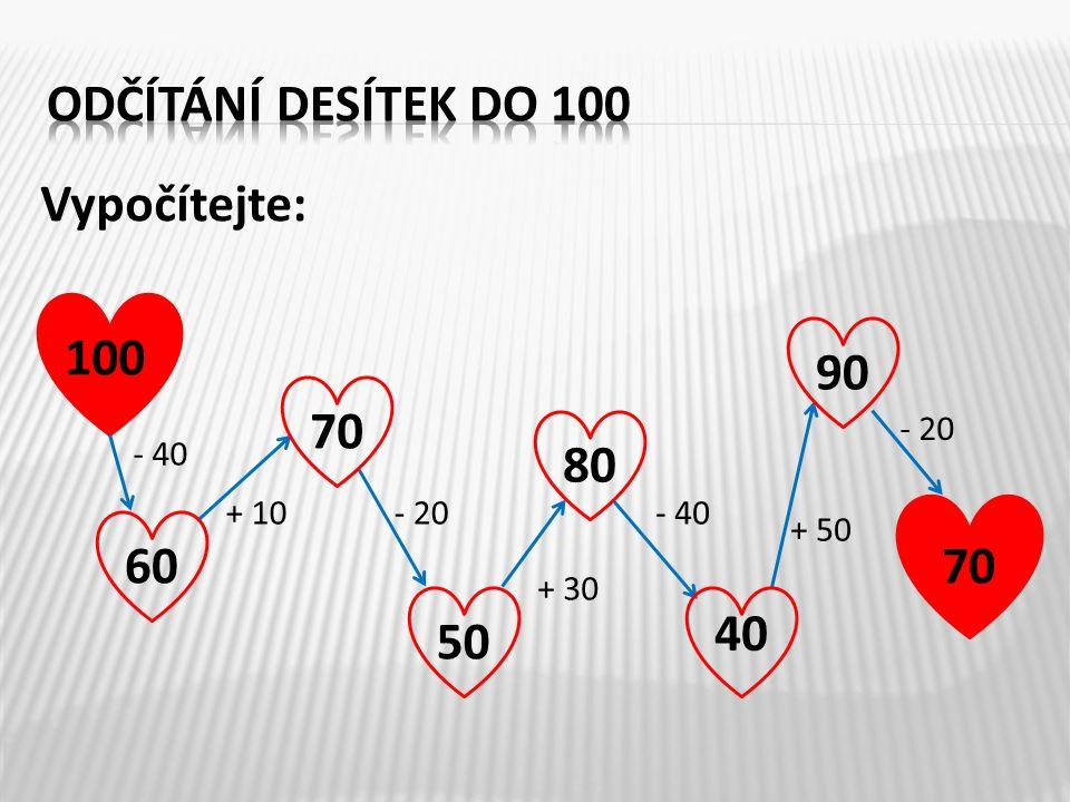 odčítání desítek do 100 Vypočítejte: 100 90 70 80 60 70 40 50 - 20