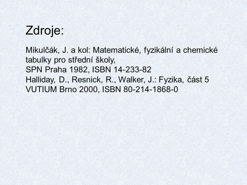 Zdroje: Mikulčák, J. a kol: Matematické, fyzikální a chemické tabulky pro střední školy, SPN Praha 1982, ISBN 14-233-82.
