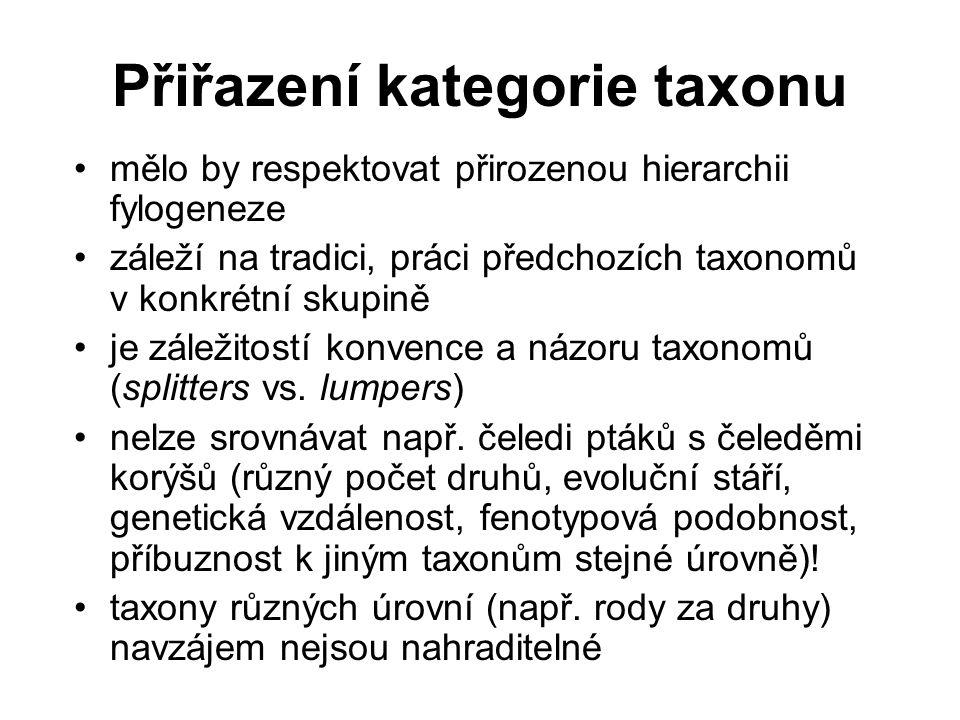 Přiřazení kategorie taxonu