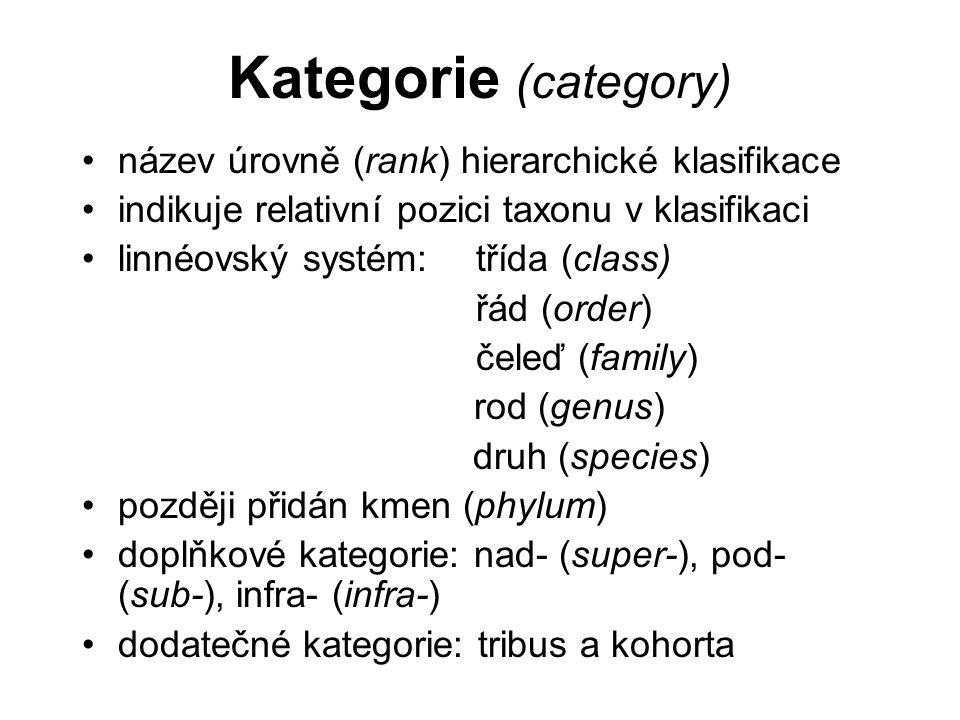 Kategorie (category) název úrovně (rank) hierarchické klasifikace