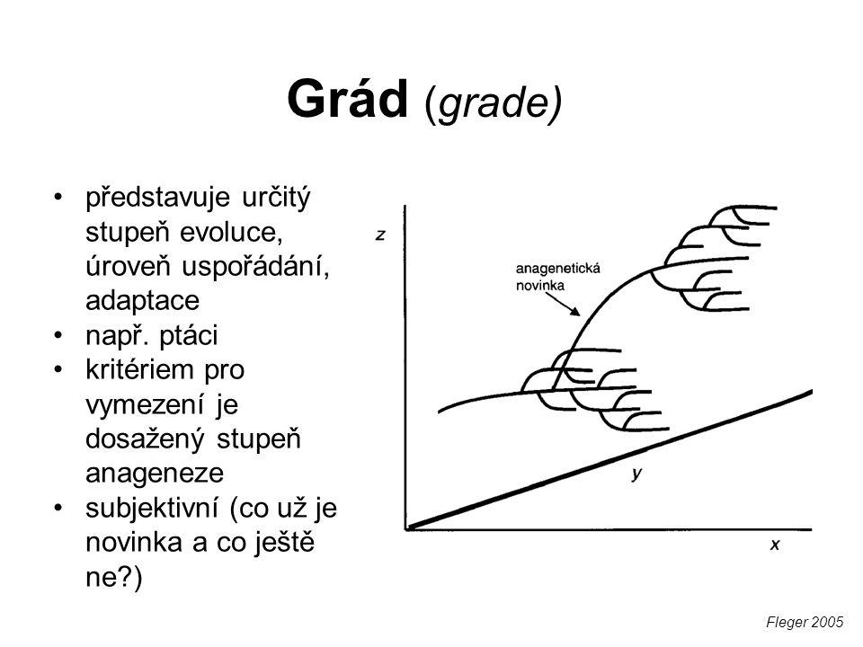 Grád (grade) představuje určitý stupeň evoluce, úroveň uspořádání, adaptace. např. ptáci. kritériem pro vymezení je dosažený stupeň anageneze.