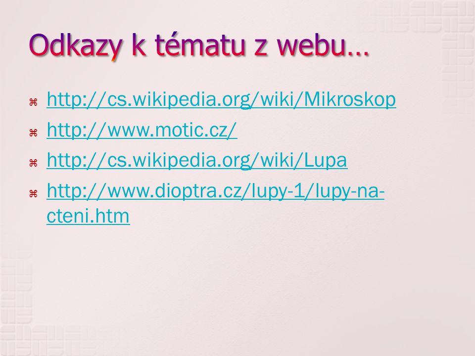 Odkazy k tématu z webu… http://cs.wikipedia.org/wiki/Mikroskop