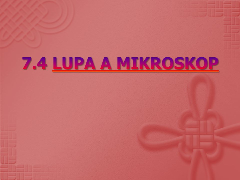 7.4 LUPA A MIKROSKOP