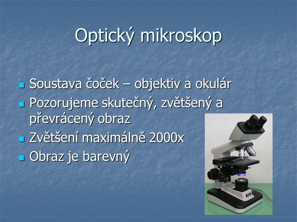 Optický mikroskop Soustava čoček – objektiv a okulár