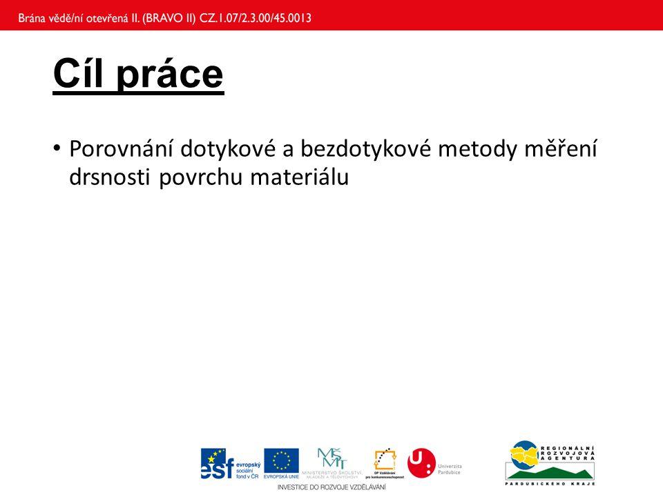 Cíl práce Porovnání dotykové a bezdotykové metody měření drsnosti povrchu materiálu
