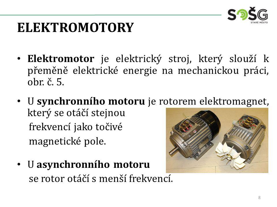 ELEKTROMOTORY Elektromotor je elektrický stroj, který slouží k přeměně elektrické energie na mechanickou práci, obr. č. 5.