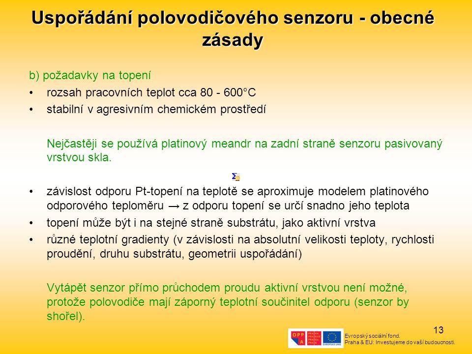 Uspořádání polovodičového senzoru - obecné zásady