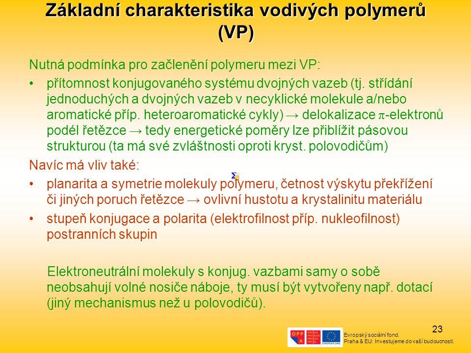 Základní charakteristika vodivých polymerů (VP)