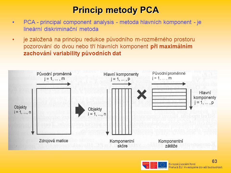 Princip metody PCA PCA - principal component analysis - metoda hlavních komponent - je lineární diskriminační metoda.
