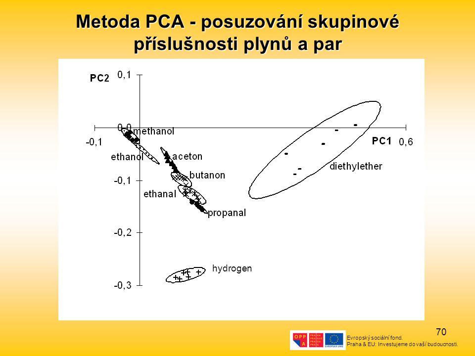 Metoda PCA - posuzování skupinové příslušnosti plynů a par