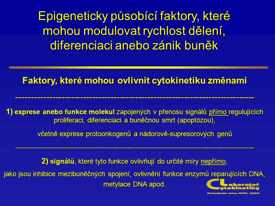 Epigeneticky působící faktory, které mohou modulovat rychlost dělení, diferenciaci anebo zánik buněk