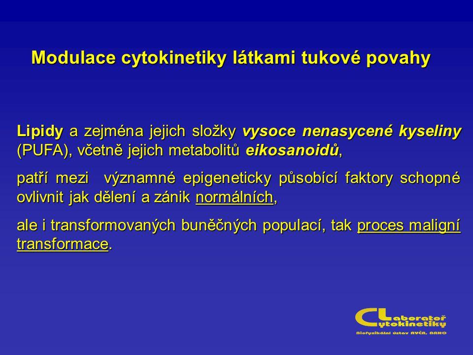 Modulace cytokinetiky látkami tukové povahy