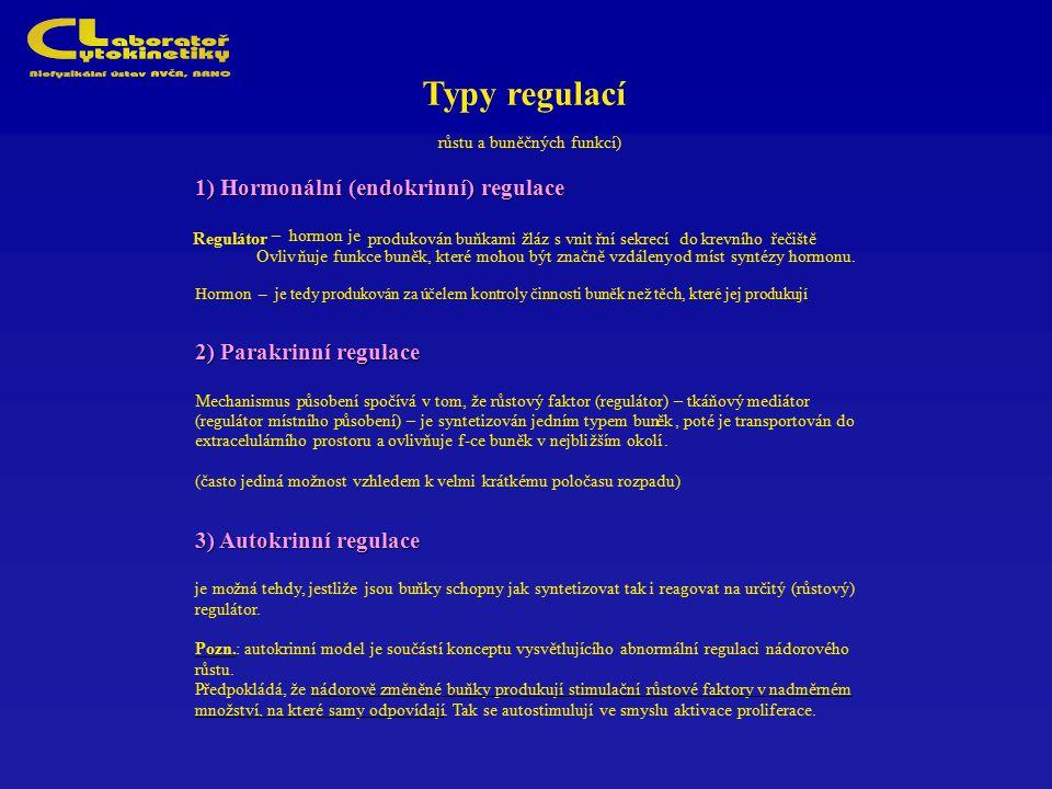 Typy regulací 1) Hormonální (endokrinní) regulace