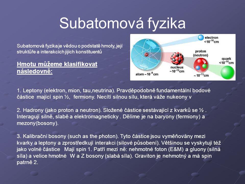Subatomová fyzika Hmotu můžeme klasifikovat následovně: